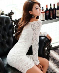 J73194 K Night Club Sexy Long Sleeve Lace Tight Hip Dress