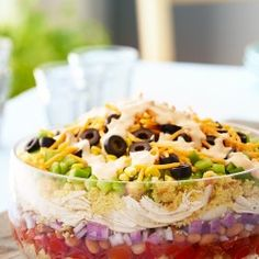 A colorful salad packed with veggies and protein. Simply layer ingredients for this eye-catching Southwestern Chicken and Cornbread Salad thats perfect for potlucks. Check out the website to see Cornbread Salad Recipes, Fresh Salad Recipes, Healthy Salad Recipes, Coleslaw Recipes, Lunch Recipes, Yummy Recipes, Chefs, Fancy Salads, Summer Salads