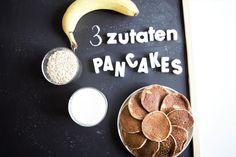 Gesunde Pancakes - 3 Zutaten & 1 Mixer! Vegan möglich! Haferflocken, Banane & Milch nach Wahl... = perfekte, einfachste, leckerste und gesündeste Pancakes!
