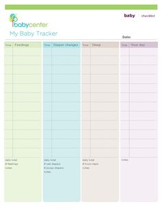 Baby tracking worksheet - printable - track feedings, diaper changes, sleeping & whatever else you want to track.