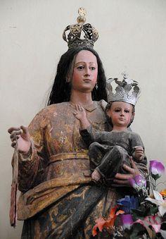 Image of the Virgen del Carmen (Our Lady of Mt Carmel) in the church of Magdalena Apasco Etla, Oaxaca, Mexico. Her feast day falls on 16 July.