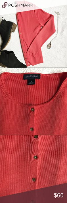 Ann Taylor cardigan Coral Ann Taylor button up cardigan. 100% silk. Absolutely no sign of use. Great for the spring time! NWOT. Ann Taylor Sweaters Cardigans