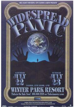 Original concert poster for Widespread Panic at the Winter Park Resort in Colorado. 12 x 18 on thin paper. Art by Jeff Miller.