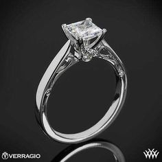 Verragio Four Prong Solitaire  Princess Cut Engagement Ring | bridesandrings.com
