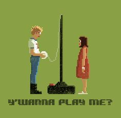 Wanna Play Me by pacalin on DeviantArt Bow Staff, Napoleon Dynamite, 8 Bit, Pixel Art, I Movie, Needlepoint, Nerd, Happy Birthday, Artsy