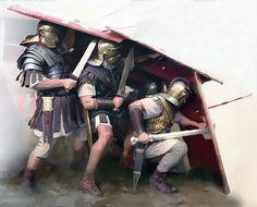 Under the cover of a testudo (tortoise). -------------- N.D.: A cubierto de una 'testudo' (tortuga), la formación de legionarios romanos que se protegía con escudos para evitar los dardos enemigos.