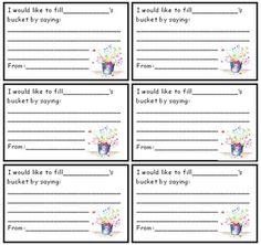 Bucket filler cards - FREE | Education | Pinterest | Buckets, Cards ...