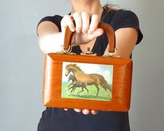 Vintage WOODEN Bag / Top Handle Purse Structured by BluegrassBooty, $64.00