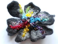 Wool Felted Flower Pin Midnight Rainbow Colors Red by MaijaFeja, $32.00