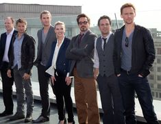 The cast of The Avengers in Moscow.. Chris Hemsworth and Tom Hiddleston are tall... and Scarlet is short.