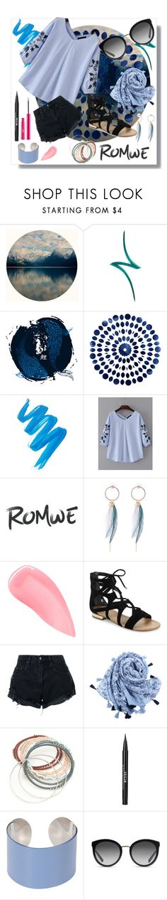 """Romwe Blue"" by kateisgreat45 ❤ liked on Polyvore featuring By Terry, L.A. Girl, Kevyn Aucoin, Saks Fifth Avenue, Nobody Denim, Red Camel, Stila, Maison Margiela, Dolce&Gabbana and Sigma"