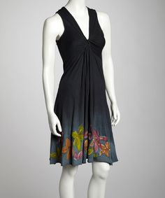 Take a look at this Black Floral Knotted Sleeveless Dress by Raya Sun on #zulily today!  $17.99, regular 32.00