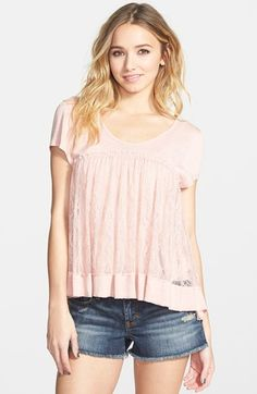 Taylor & Sage Lace Inset Tee (Juniors) available at #Nordstrom