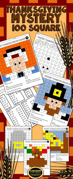 Five Mystery 100 Square Thanksgiving Pictures with 10 More/10 Less problems to solve.  $3.50