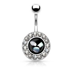 Mother of Pearl Belly Ring Silver Navel Ring Body Jewelry Piercing Jewelry