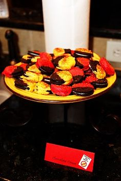 oreos. fire fighter birthday party treat. red yellow black.