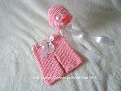 Conjunto de Crochê Rosa Retrô artelinharj@gmail.com 62 98146.4188