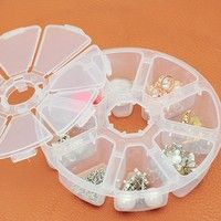 Wish | 1Pcs 8 Slots Storage Box Case Organizer Display Jewelry Bead Makeup Clear Round Rangement Maquillage