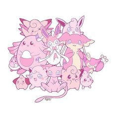 Kawaii pink Pokemon by LadyAgny ❤ liked on Polyvore featuring pokemon