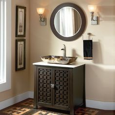 Adelina 30 inch Contemporary Vessel Sink Bathroom Vanity, Espresso finish cabinet is a new additional to our modern/contemporary group of vanities. The clean and sleek design complements to many today's modern bathroom decors. This bathroom vanity features durable wood construction with a thick cream hand-polished marble counter top.