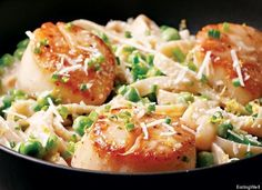Scallop and Pea Fettuccine