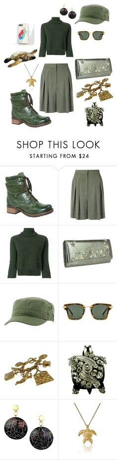 """turtle"" by moestesoh ❤ liked on Polyvore featuring Dromedaris, Andrea Marques, Federica Tosi, Jimmy Choo, Roxy, Karen Walker, Chanel, jared and Ross-Simons"