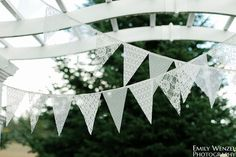 Lace Bunting Pennant Banner, lace bunting, wedding banner