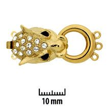 23KT Gold Plated, Novelty Cougar Head, Push-Pull Box Clasp,with Rhinestones (crystal on head; black for eyes), 3-strands, 32x15mm, (1 clasp)