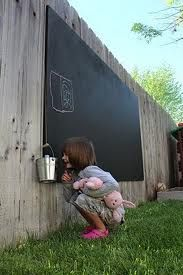 Painting fence black and hanging chalk board for kids!