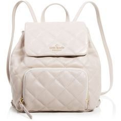 kate spade new york Jessa Quilted Mini Backpack - 100% Bloomingdale's... ($328) ❤ liked on Polyvore featuring bags, backpacks, mousse, pink mini backpack, leather strap backpack, genuine leather backpack, quilted backpack and top handle bag