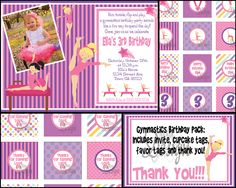 Gymnastics Birthday Party Invite with FREE Cupcake Tags, Favor Tags & Thank You - Digital Files. $10.00, via Etsy.