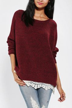 Pins And Needles Lace-Trim Sweater - I don't think I would have picked it from this picture, but I saw this look in the store and it was very cute.