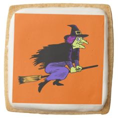 Halloween Flying Witch Square Sugar Cookies