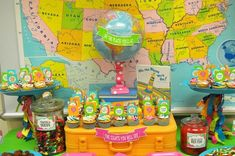 "An ""Oh, the Places You'll Go"" theme food display table - for birthday or graduation party."