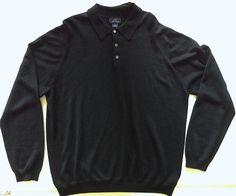 Brooks Brothers Sweater Top Polo Black 100% Fine Italian Merino Wool Knit Men XL…