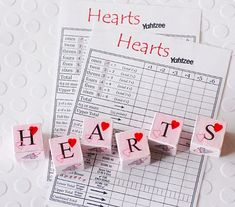 75 Valentines Day Free Printables - Craftionary HEARTS Yahtzee - diy game board and dice for kids or grown ups! VDay gift or cards!