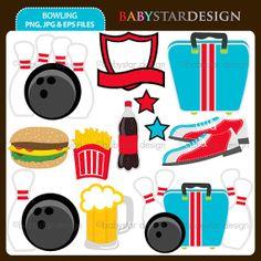 Bowling Clip Art Set by babystardesign on Etsy, $5.95