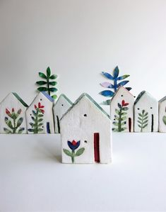 Hand made from a stoneware clay, this beautiful little house with green roof, red door and white washed walls is adorned by a single folk style flower. The house measures approx. Ceramics Projects, Clay Projects, Clay Crafts, Diy And Crafts, Wood Crafts, House Projects, Ceramic Spoons, Ceramic Clay, Ceramic Painting