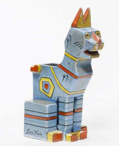 A Louis Wain ceramic cat figurine - Century - Amphora pottery figure created in a 'Cubist' manner designed by Louis Wain Silly Cats, Cats And Kittens, Crazy Cat Lady, Crazy Cats, Art School London, Louis Wain Cats, Cubist Movement, Cat Boarding, Art Deco Era