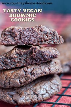 These vegan chocolate brownie cookie recipe is seriously delicious! These double chocolate cookies are perfect for your Christmas Cookie Platter. #vegancookies #veganfudgybrownie cookies #veganchristmascookierecipes