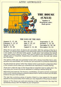 Zodiac Unlimited Aztec astrology postcard: The House