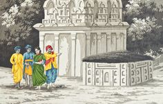 """Scene of Old India Painting Grisailles with color  27"""" x 38"""""""