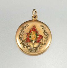 Victorian Gold Filled Maple Leaf Enamel Locket