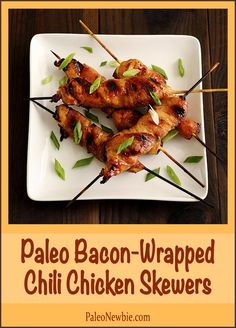 Simple and succulent skewers – marinated chicken strips wrapped in a strip of bacon and grilled. Sweet, spicy and so good! #paleo #glutenfree