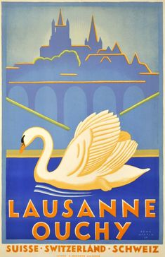 By Rene Martin, 1930, Art Deco poster  promoting Ouchy, the marina of Lausanne, around Lake of Geneva. (S)