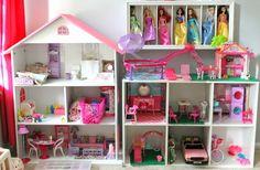 DIY Barbie house using a bookshelf and cube shelf from Target!