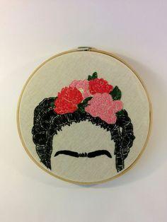 Frida Kahlo flor pelo 8 bordado aro arte del por LesfillesShop