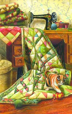 Cat on a Quilt 1000pc Jigsaw Puzzle by Doug Knutson « Game Searches