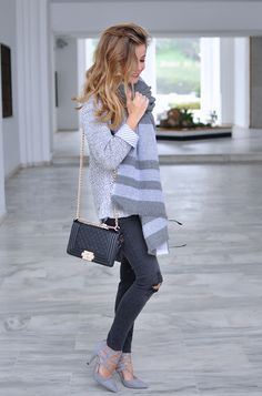 Grey scarf, ripped jeans, grey heels