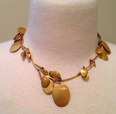 Vintage Ted Muehling Gold Plated Vermeil Chip Pedal Necklace Choker